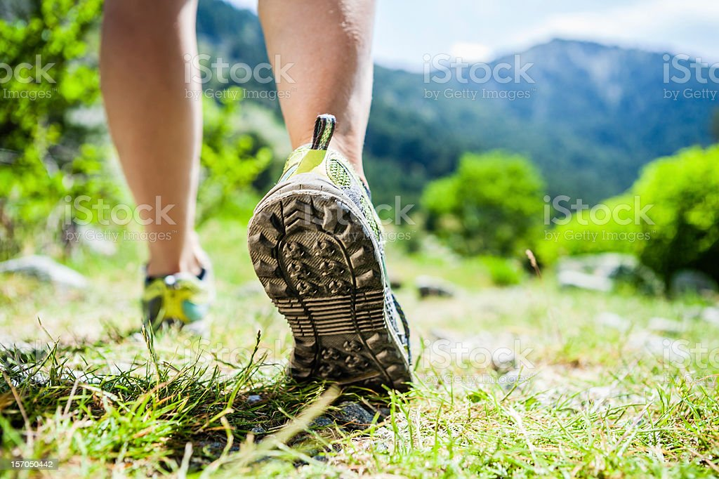 Walking legs on green grass in mountains royalty-free stock photo