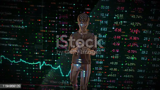 919567592 istock photo Walking man hand using smart phone who looks various graphics Financial technology concept. Internet of Things. Information Communication Technology. 1194956120