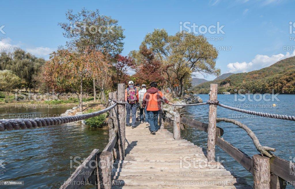 Walking on a boardwalk on Nami Island in South Korea stock photo