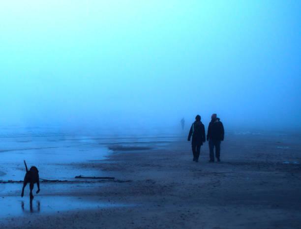 Wandern auf einem nebligen Strand zu Weihnachten – Foto