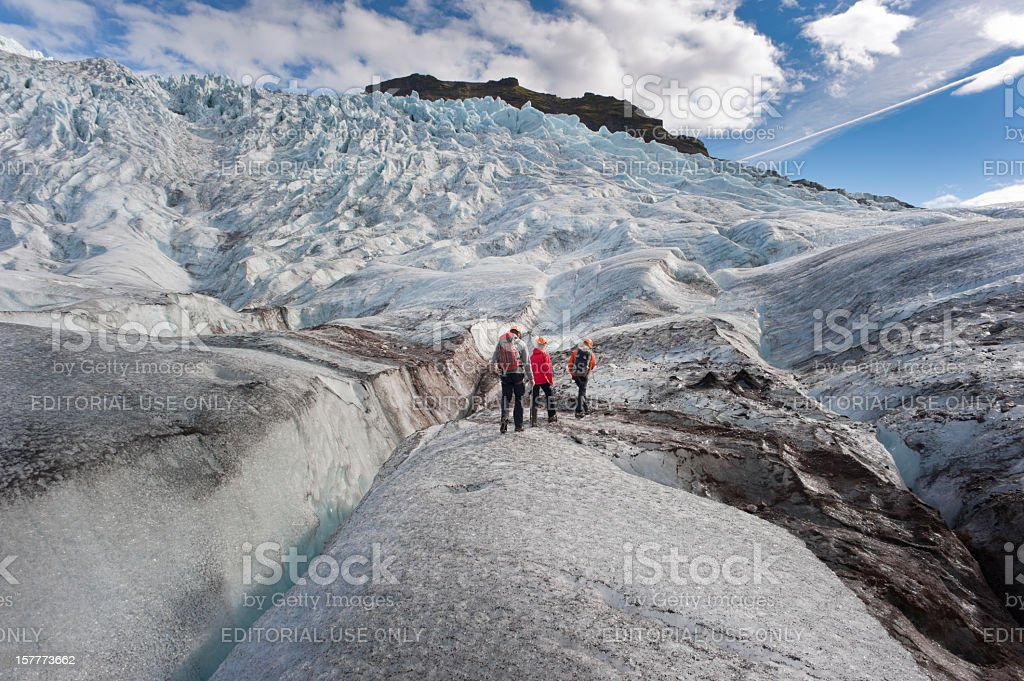 walking on a glacier stock photo