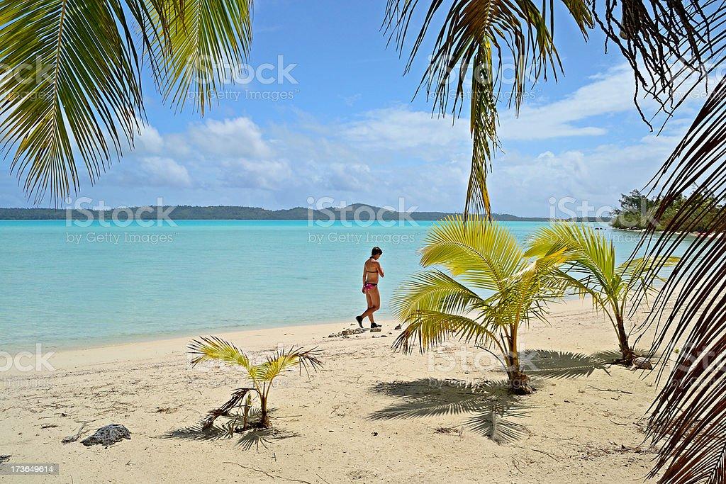Walking on desert tropical island stock photo