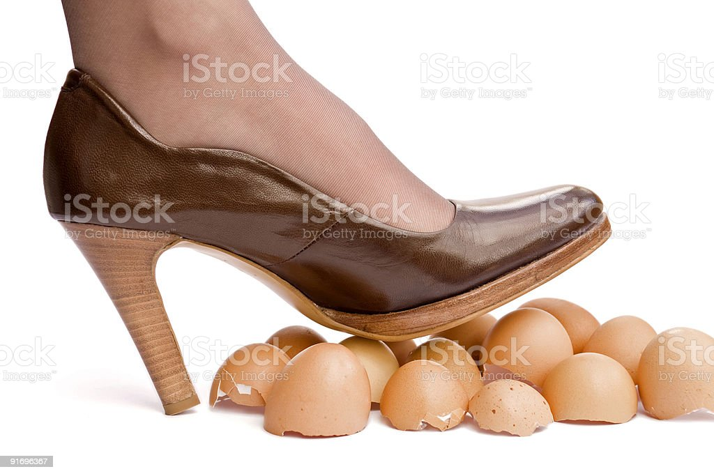 Walking on eggshells royalty-free stock photo