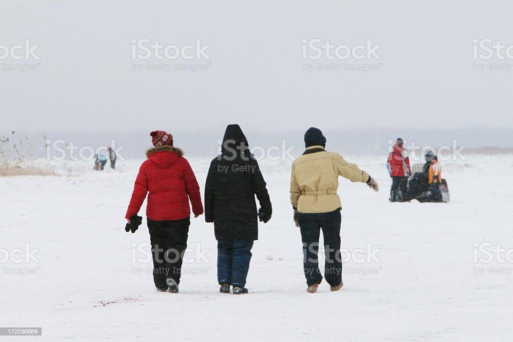 Walking on frozen river royalty-free stock photo