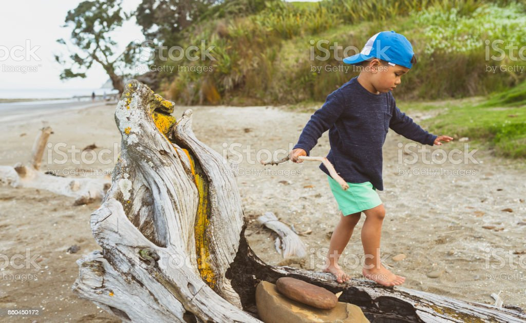 Walking on log outdoor on Long Bay, Beach, Auckland, New Zealand. stock photo