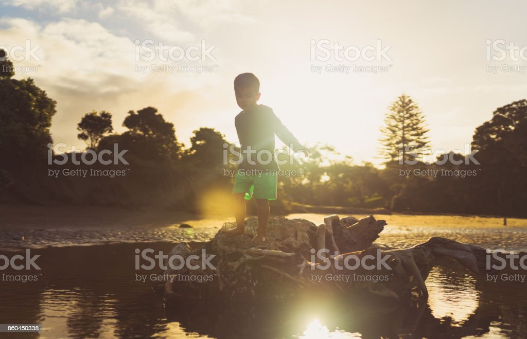 Walking on log with sunset in background. stock photo
