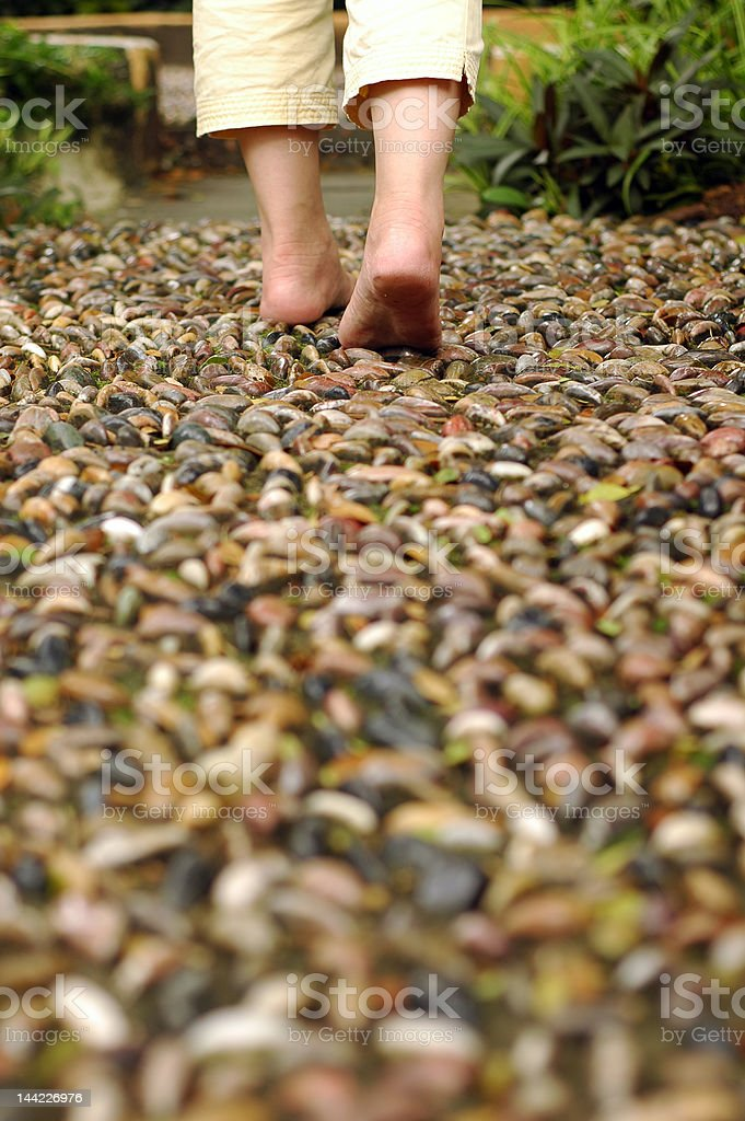Walking on reflexology path royalty-free stock photo