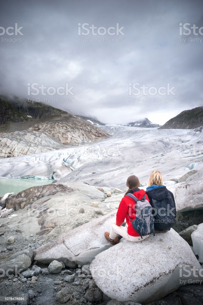 Walking on Retreating Glacier stock photo