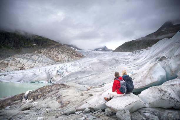 Walking on Retreating Glacier stock photo