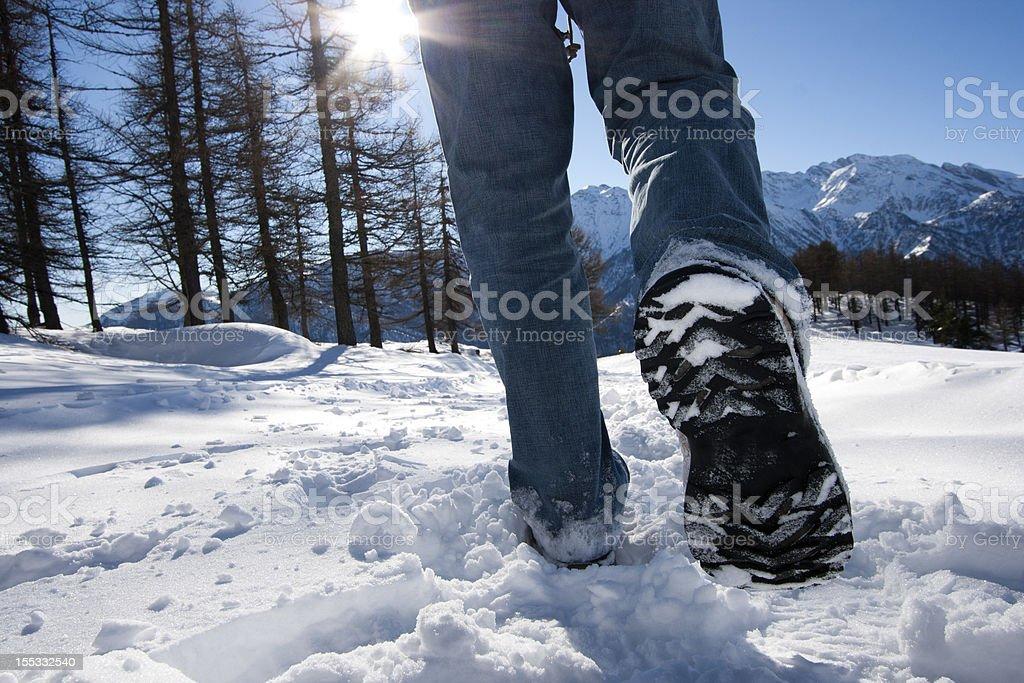 walking on snow royalty-free stock photo