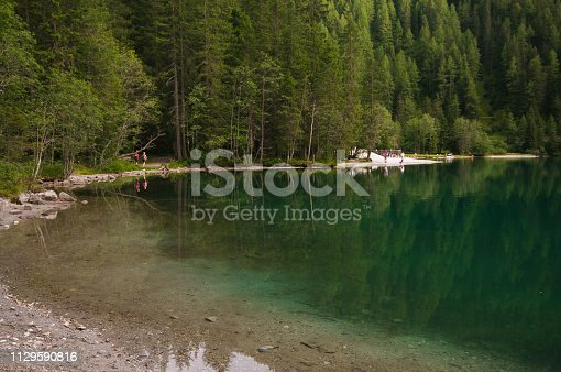 istock Walking on the Anterselva lake in Alto Adige, South Tyrol 1129590816