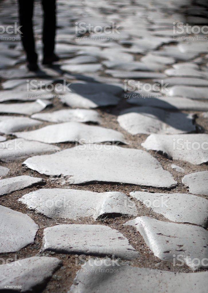Walking on the Appian Way, Rome stock photo