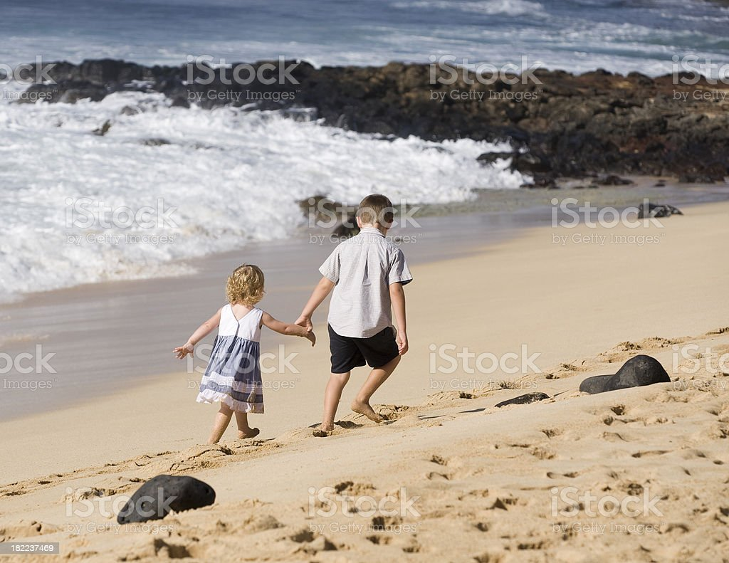 Walking on the beach. royalty-free stock photo