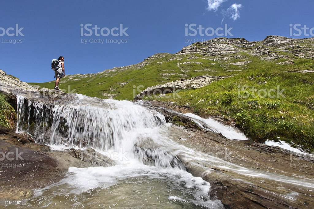 Walking on the falls stock photo