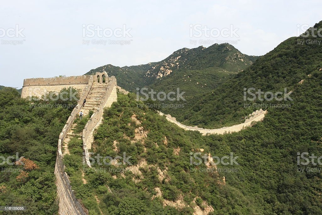 Walking on the Great Chinese Wall stock photo