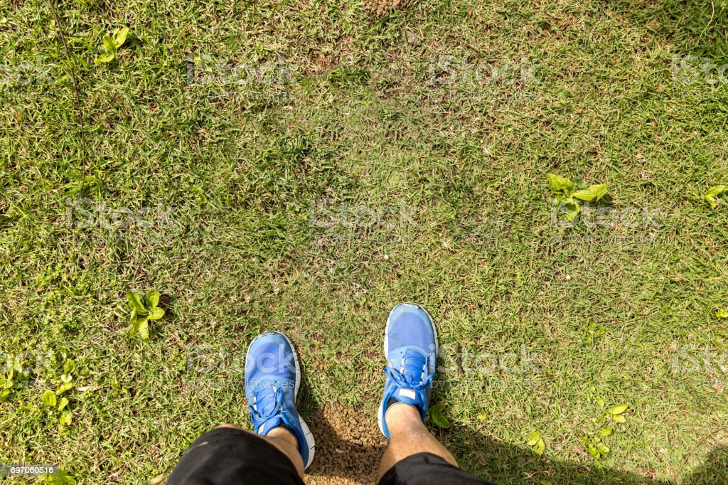 POV of Walking on the green grass
