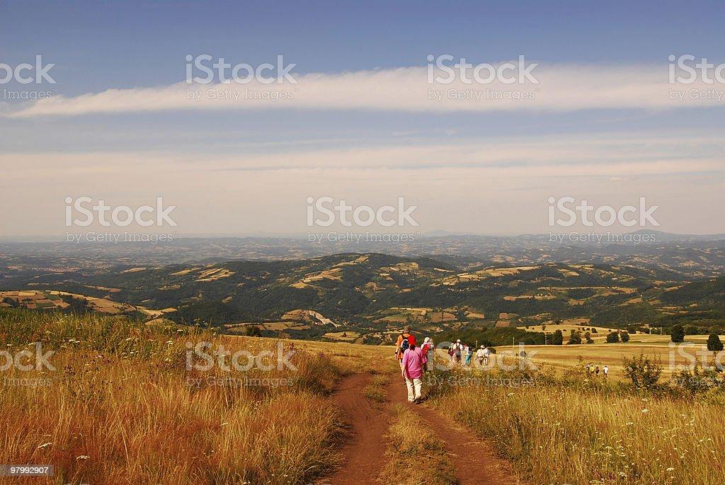 walking on the mountain royalty free stockfoto