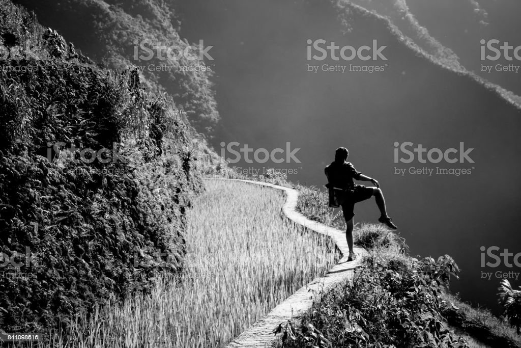 Walking on the rice terraces of batad, Unesco world heritage site, Philippines, Asia stock photo