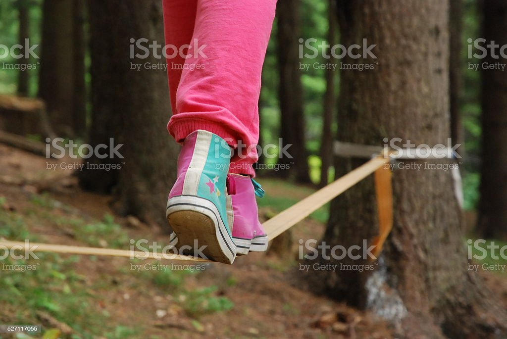 Walking on the rope stock photo