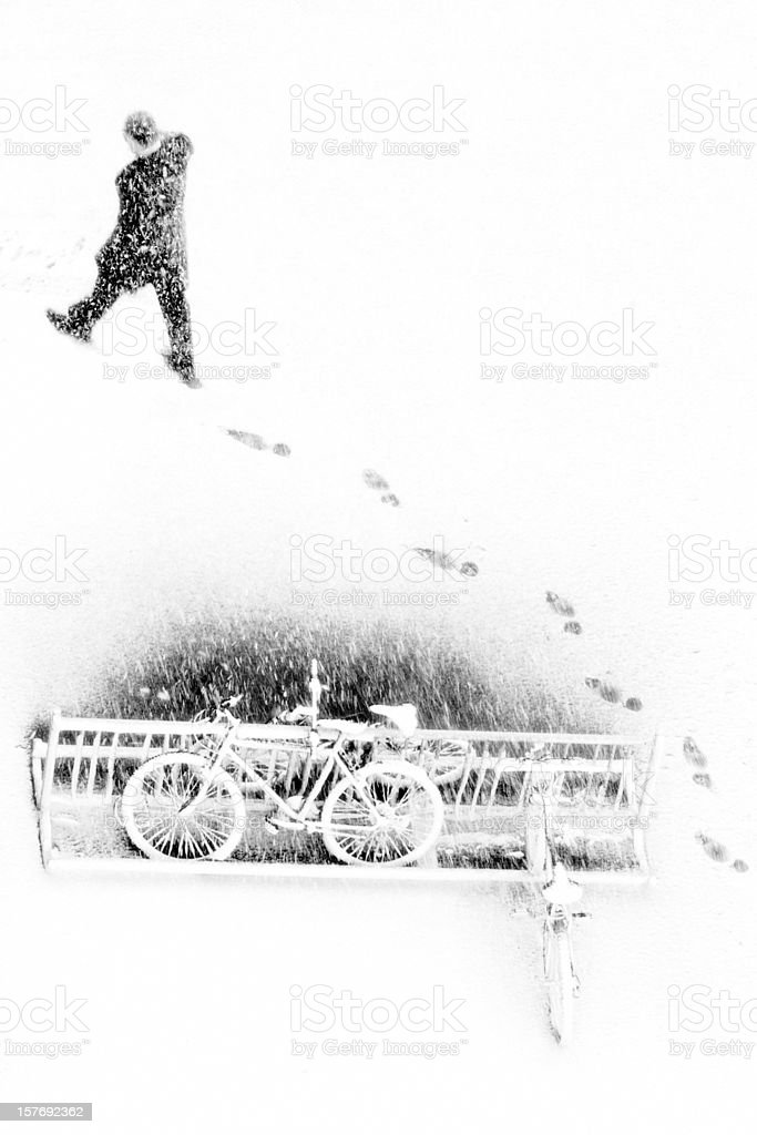 walking on the snow royalty-free stock photo