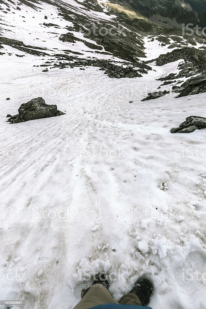 Walking on the Snowy Cliff royalty-free stock photo