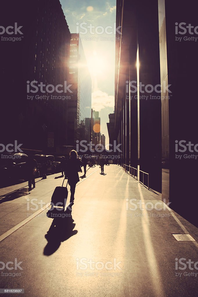 Walking on the street stock photo