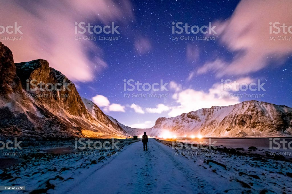 Walking on the Unstad Beach at Night royalty-free stock photo