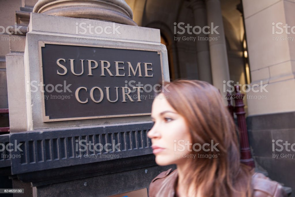 Walking Past the Supreme Court stock photo