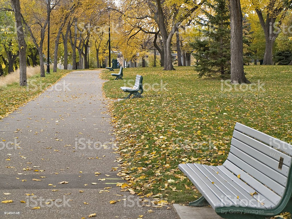 Walking Path and Park Benches in Saskatoon royalty-free stock photo