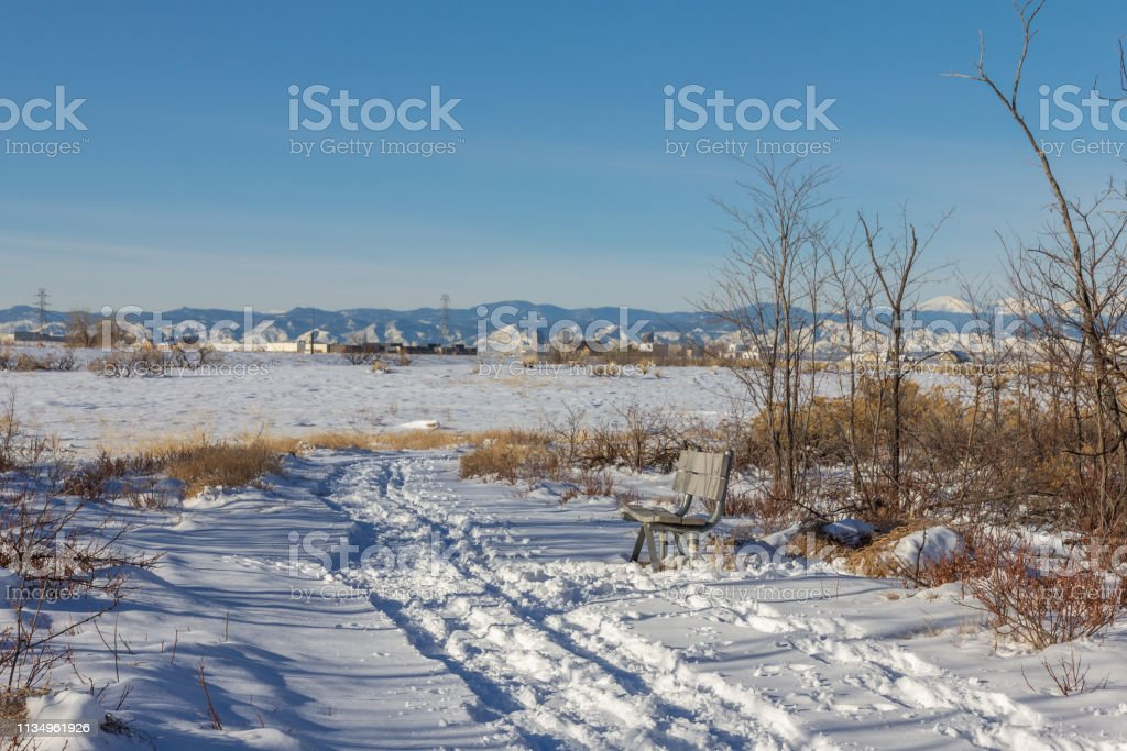 Walking path in Rocky Mountain Arsenal stock photo