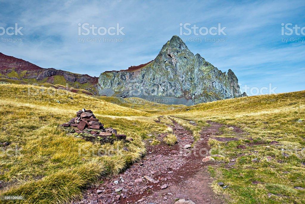 Walking Path to Peak Anayet in Aragon Pyrenees stock photo