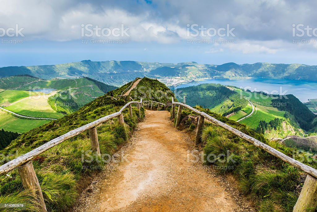 Walking path to the lakes of Sete Cidades, Azores, Portugal stock photo