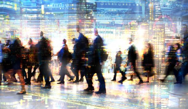 walking people. multiple exposure image. london - schuhe auf englisch stock-fotos und bilder