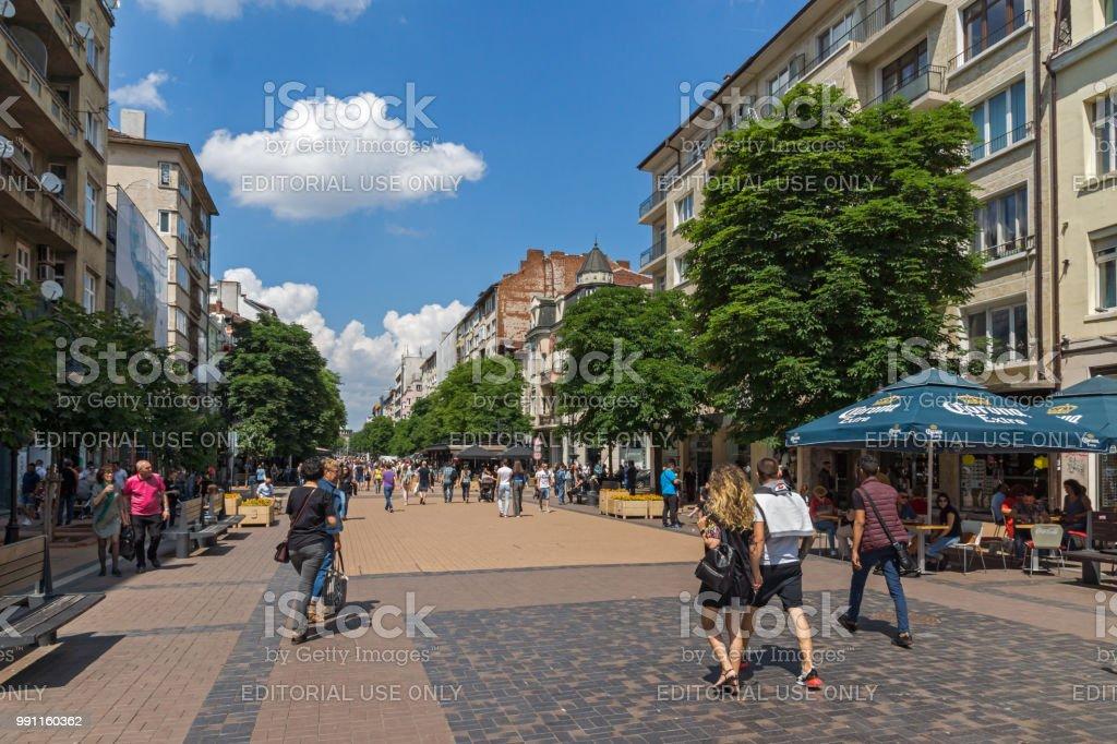 Walking People On Boulevard Vitosha In City Of Sofia Bulgaria