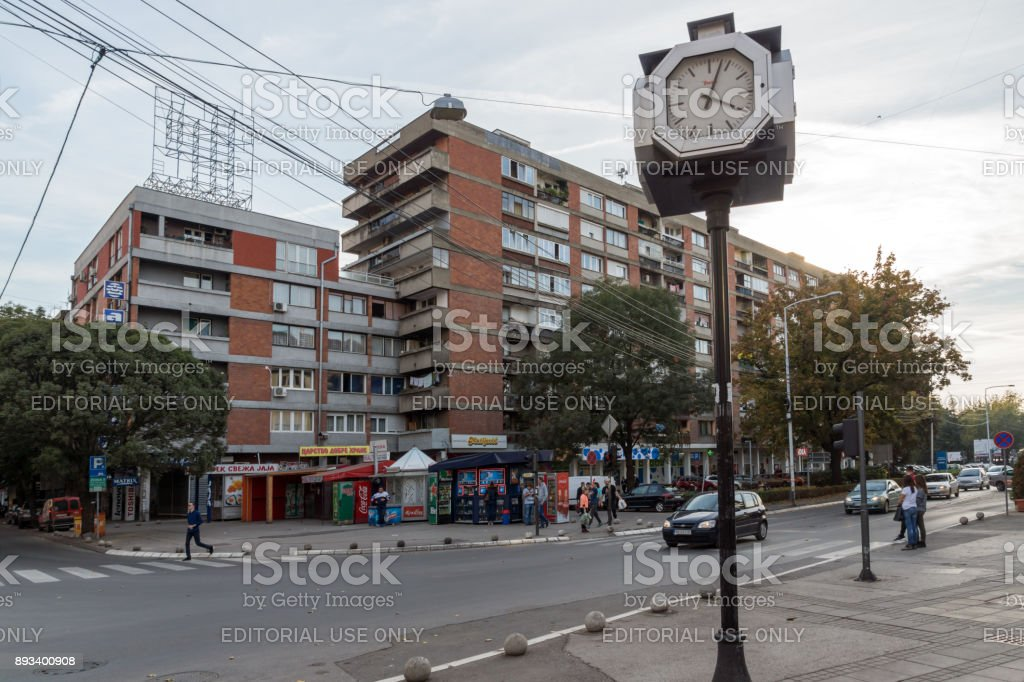 Walking people on central street of City of Nis, Serbia stock photo