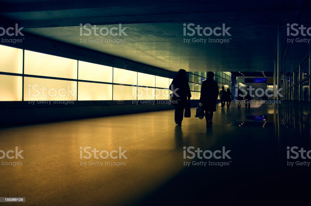 Walking People Silhouettes royalty-free stock photo