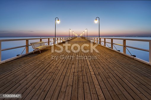 Walking pier. Poland, Gdynia Orlowo, Baltic Sea