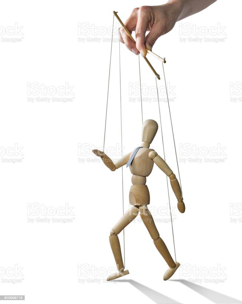Walking puppet, isolated. stock photo