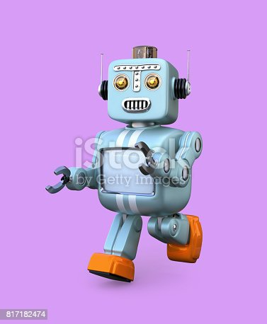 678279896 istock photo Walking retro robot isolated on purple background 817182474