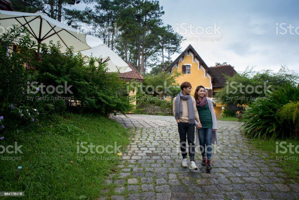Walking romantic couple royalty-free stock photo