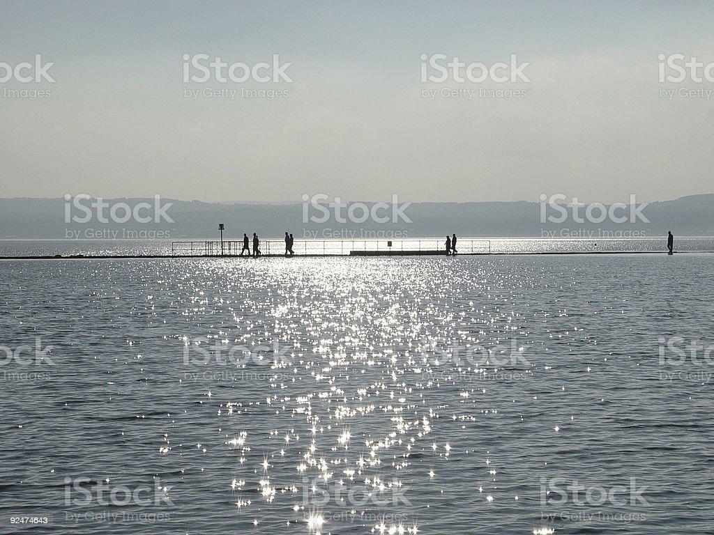 Walking round the lake royalty-free stock photo