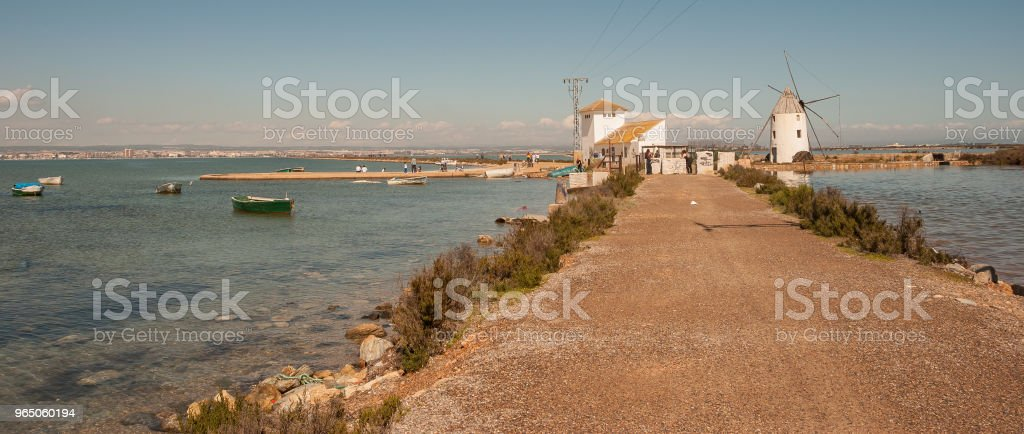 Walking route through the Mar Menor in Murcia. Spain zbiór zdjęć royalty-free