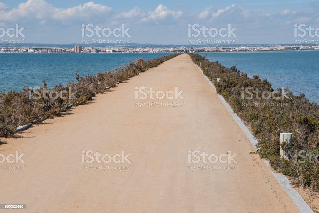 Walking route through the Mar Menor in Murcia. Spain zbiór zdjęć royalty-free