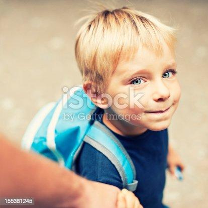 istock Walking son to school 155381245