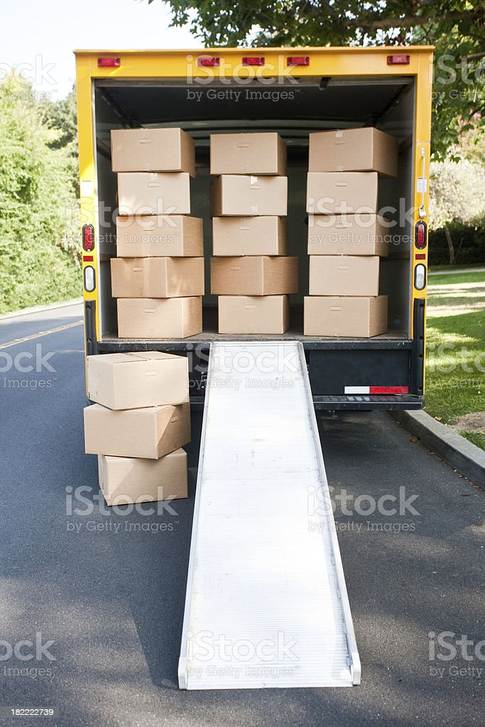 walking straight into moving boxes royalty-free stock photo
