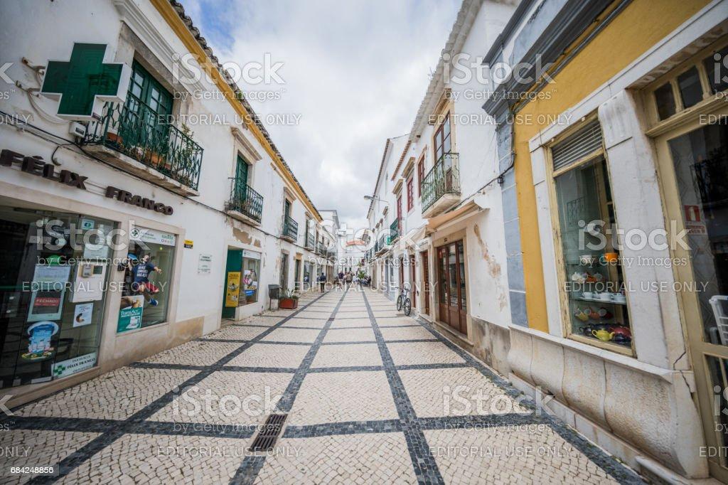 Walking street in Tavira, Algarve, Portugal royalty-free stock photo