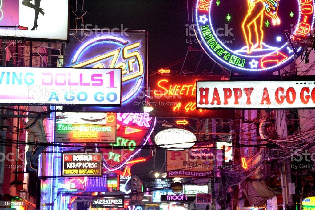 Walking street neon signs in Pattaya, Thailand stock photo