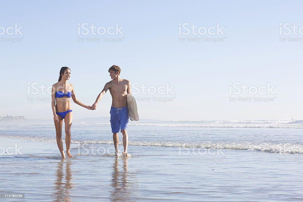 Walking the beach royalty-free stock photo