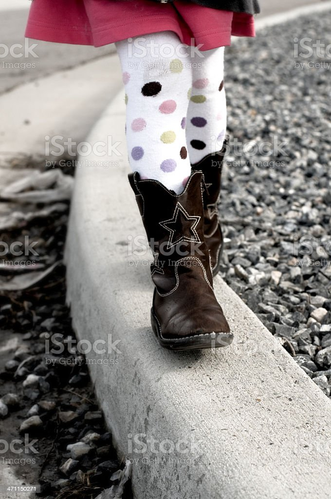 Walking The Curb royalty-free stock photo