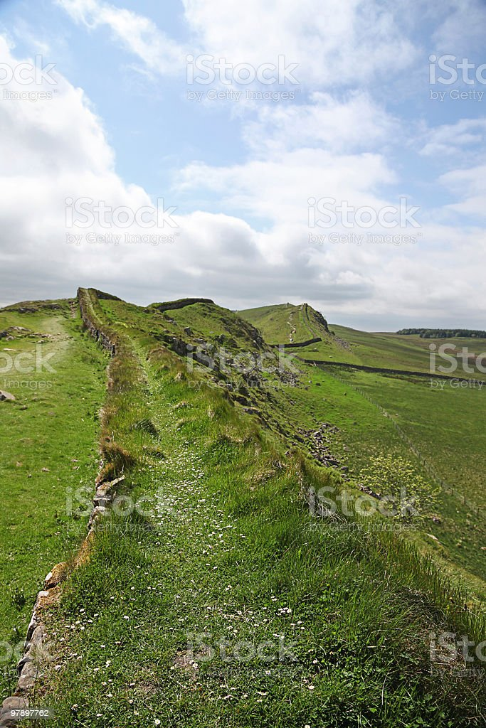 Walking the Roman Wall royalty-free stock photo